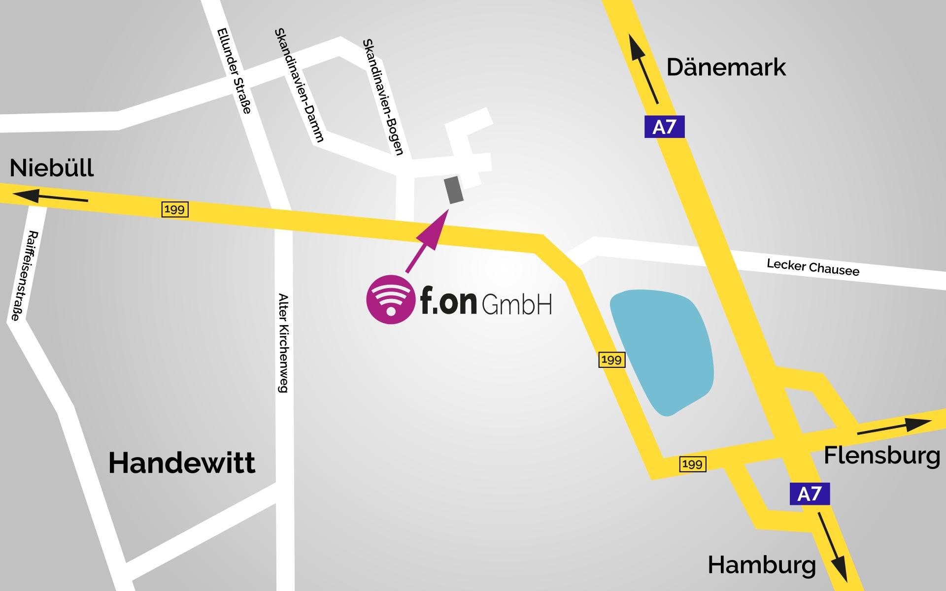 Anfahrtskarte zur f.on GmbH in Handewitt